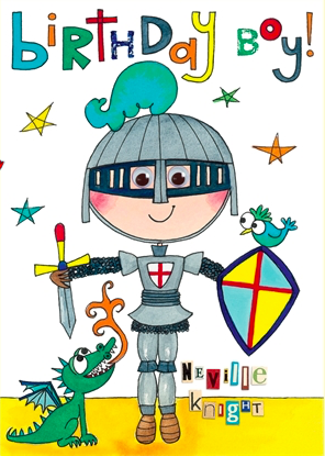Birthday Card - Wibbly Wobbly Lane Knight and Dragon