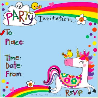 Party Invitations - Unicorn Theme