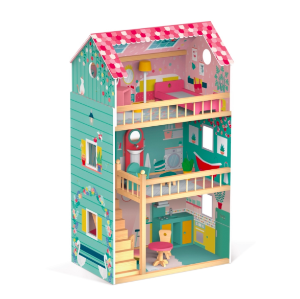 Wooden Three-storey Dolls' House with furniture -  Happy Day by Janod